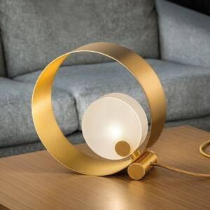 Masiero Stolná lampa Sound TL1, okrúhla, zlatý rám, G9