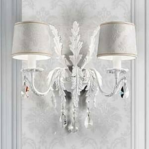 Masiero Biele nástenné svietidlo Angelis, krištále Asfour