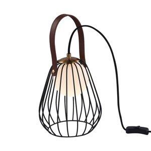 Maytoni Stolná lampa Indiana klietkové tienidlo, čierna