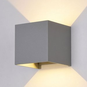 Maytoni Vonkajšie nástenné LED Fulton, 10x10cm, sivé