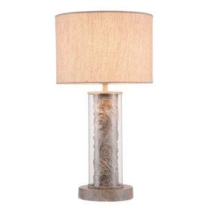 Maytoni Stolná lampa Maryland s látkovým tienidlom z ľanu