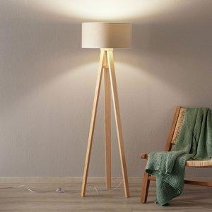 Maco Design Stojaca lampa Verbena zlatá s textilným tienidlom
