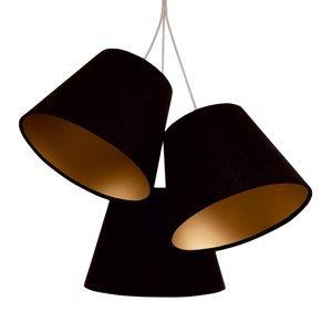 Maco Design 3-plameňová závesná lampa Sonia, textilné tienidlá