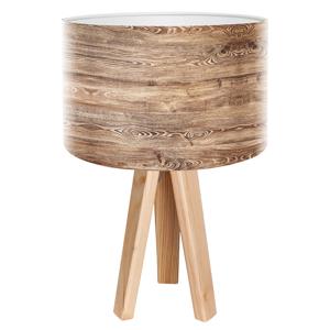 Maco Design Stolná lampa Woody s tienidlom v drevenom vzhľade