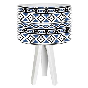 Maco Design Drevená stolná lampa Kiano s potlačeným tienidlom
