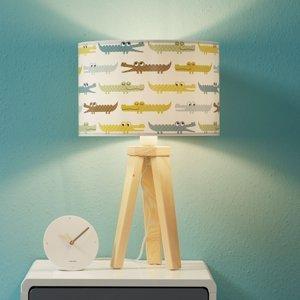Maco Design Pestrá detská stolná lampa Kroko s drevom