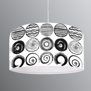 Maco Design Potlačená závesná lampa Ueli, čiernobiely motív