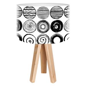 Maco Design Moderná stolná lampa Ueli s trojnožkou z dreva