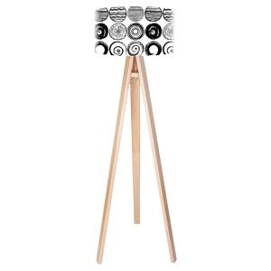 Maco Design Štýlová stojaca lampa Ueli s trojnožkou z dreva