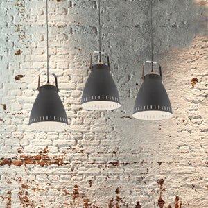Nino Leuchten Závesná lampa Makky s kovovým tienidlom v čiernej