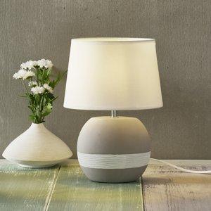 Nino Leuchten Stolná lampa Creto s bielym textilným tienidlom