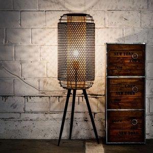 Nino Leuchten Stojaca lampa Denton, trojnožka, kovové tienidlo
