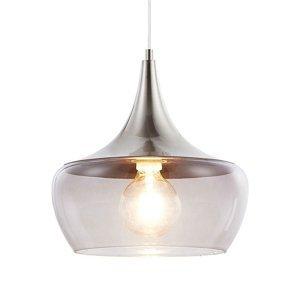 Nino Leuchten Sklenená závesná lampa Arola, dymová sivá
