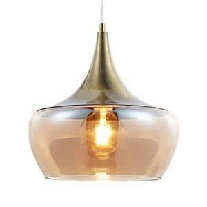 Nino Leuchten Sklenená závesná lampa Arola, starožitná mosadz