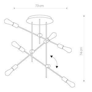 NOWODVORSKI LIGHTING Závesná lampa Axis okrúhla s kĺbmi, 6-plameňová