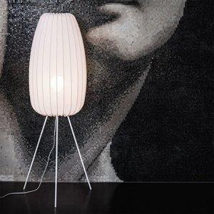 NOWODVORSKI LIGHTING Stojaca lampa Muse L v bielej s tienidlom lycra