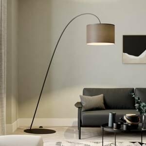 EULUNA Oblúková lampa Alice s hnedým textilným tienidlom