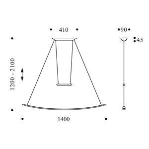 OLIGO OLIGO Lisgo závesné LED svietidlo, šampanské