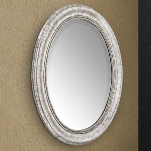 Orion Oválne nástenné zrkadlo Wiila drevený rám striebro