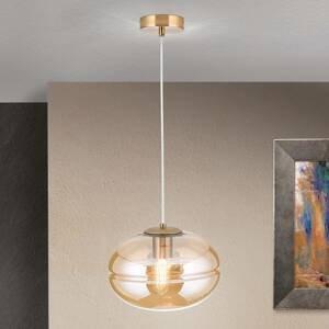 Orion Závesná lampa Richard, kov mosadz, sklo jantár