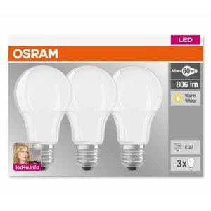 OSRAM E27 9W 827 LED žiarovka matná, sada 3 kusov