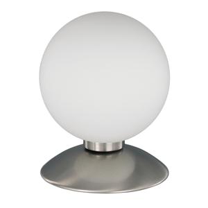 Paul Neuhaus Guľatá stolná lampa BUBBA, podstavec vzhľad ocele