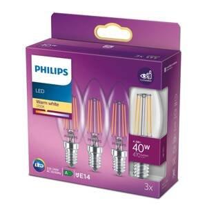 Philips Philips sviečková LED E14 B35 4,3W číra 3ks