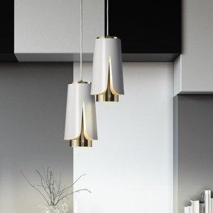 PRANDINA Prandina Tulipa S3 závesná lampa biela matná/zlatá