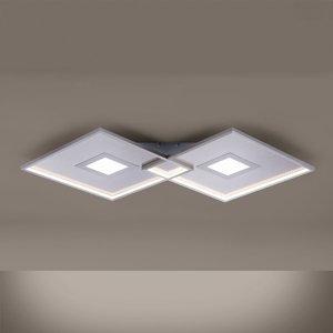 Paul Neuhaus Stropné LED svietidlo Amara, dva štvorce, striebro