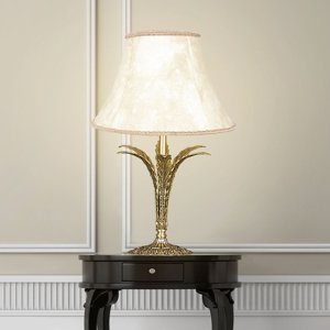 RIPERLamP Stolná lampa Palmera, starožitné zlato 1-plameňová
