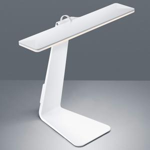 Reality Leuchten Stolná LED lampa Herold dobíjateľná, biela