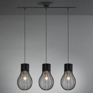 Reality Leuchten Závesná lampa Dave, 3-plameňová, čierna