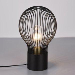 Reality Leuchten Stolná lampa Dave s čiernym mriežkovaným tienidlom