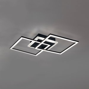 Reality Leuchten Stropné LED svietidlo Venida, čierne, 2 štvorce
