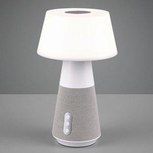 Reality Leuchten Stolná LED lampa DJ s reproduktorom, biela/sivá