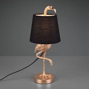 Reality Leuchten Stolná lampa Lola figúrka plameniaka, čierna/zlatá