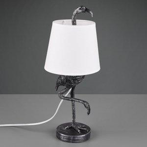 Reality Leuchten Stolná lampa Lola figúrka plameniaka striebrobiela