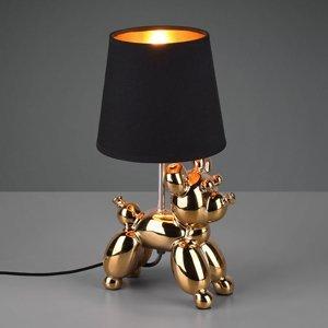 Reality Leuchten Stolná lampa Bello s figúrkou psa, čierna/zlatá
