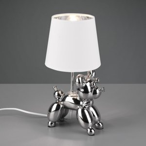 Reality Leuchten Stolná lampa Bello s figúrkou psa, striebro/biela