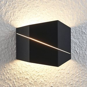 Lindby Nástenné LED svietidlo Nikolae, 18 cm čierne