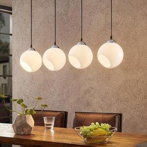 Lindby Lindby Odila závesná lampa, 4 sklenené gule biela