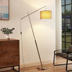 Lindby Lindby Rukaia stojaca lampa látkové tienidlo, sivá