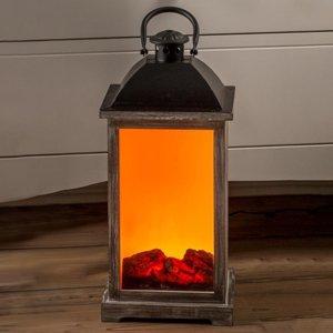 Saico Drevená lucerna s efektom krbu LED a transformátor
