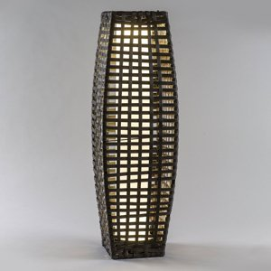 Saico Solárna LED lampa Stĺpik ratan, cibuľovitá, hnedá