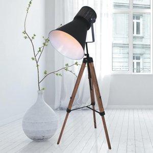 Steinhauer BV Trojnohá stojaca lampa Hoody z dreva a kovu