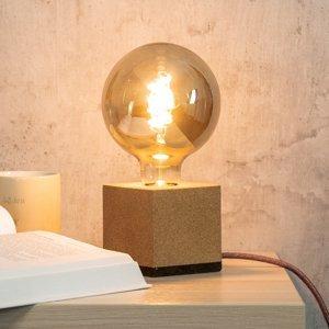 Segula SEGULA Würfel stolná lampa z korku, kábel zelený