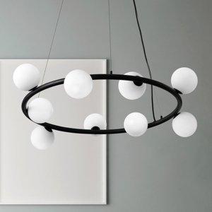 Sforzin Závesná lampa Pomì 9-plameňová s sklenenými guľami