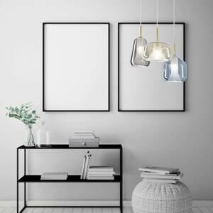 Sforzin Závesná lampa X-Ray 3-plameňová sivá/med/modrá
