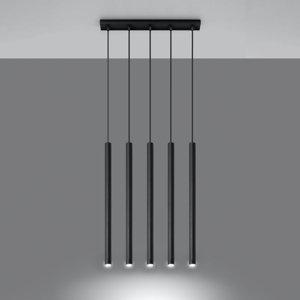 SOLLUX Závesná lampa Thin, čierna, 5-plameňová, lineárna