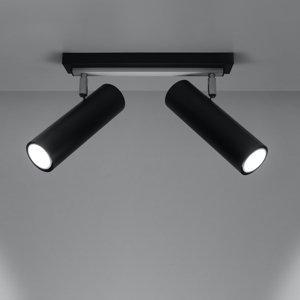 SOLLUX Stropné svietidlo Spoty, čierne, dvoj-plameňové